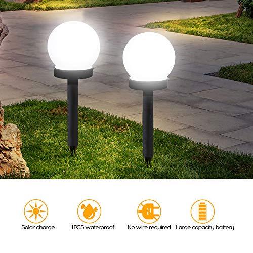 Lixada 2Pcs Lampada da Prato Solare Rotonda a Terra Luce al Suolo del Percorso della Lampada del Prato Inglese del Giardino della Luce Solare a Sfera Impermeabile