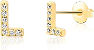Tarsus Hypoallergenic Initial Letter Studs Earrings Tiny Alphabet Stainless Steel Earrings for Sensitive Ears, Nickel Free Jewelry Gifts for Women Mens Teen Little Girls Boys