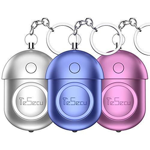 Alarma Personal, 3 PCS 140dB Alto Decibeles con Función de Lluminación Alarma de Llavero para Seguimiento Pánico Ancianos Mujer Niño