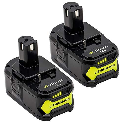 KINGTIANLE 2packs 6.0Ah 18V Replacement Battery for Ryobi 18V Lithium Battery P102 P103 P105 P107 P108 P109 Ryobi ONE+ Cordless Tool Battery