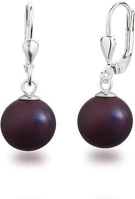 SD, Bellissimi orecchini pendenti con perle, in argento 925, con perle rotonde dalla dimensione di 10 mm