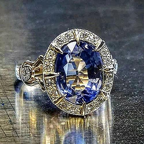 JIUXIAO Anello di Diamanti da Laboratorio con Zaffiro Naturale per Donna Uomo Anello di Diamanti da Laboratorio con Gemme di Pietre preziose per Gioielli da Laboratorio per Ragazze