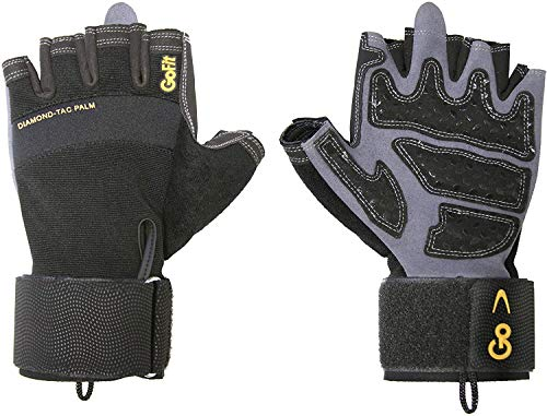 GoFit Diamond-Tac Wrist Wrap Glove - Padded, Flexible, Supportive Fitness Glove and Training CD - Large
