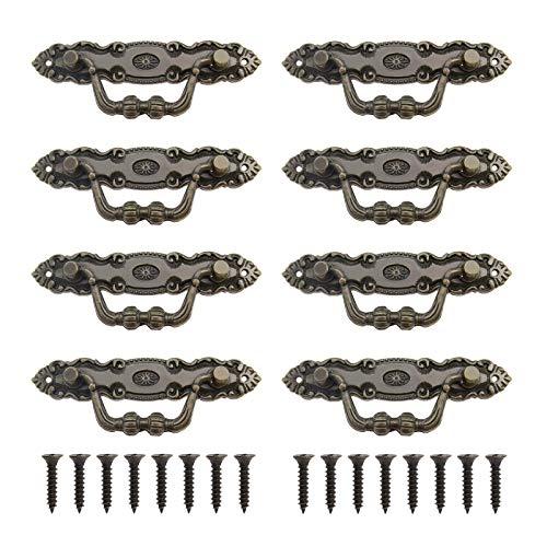 8 tiradores vintage de aleación de zinc bronce antiguo con