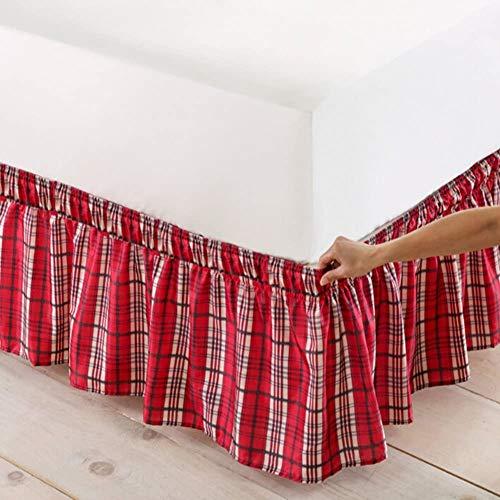 Elastische wikkelbeddroog decoratieve Gingham Dust-ruche met eenvoudige pasvorm plooien en lichtbestendige stofkwaliteit in hotelkwaliteit 200 x 200 cm (79 x 79 inch)