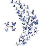 48pcs Schmetterlinge Wanddeko Aufkleber Wandsticker Abziehbilder, 3D Schmetterling Fliegen Dekorationen für Hauptdekorationen Raumdekoration Kinder Schlafzimmer Kindergarten Deko (Navy Blau)