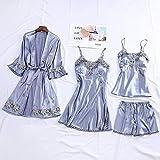 NHMDE Pijama De Satén para Mujer,Fashion Lady Sexy 4 Pijamas Elegantes Pantalones Cortos Retro Kimono Satinado Seda Pijama Set Robe Casual Encaje Patchwork Azul Azul Cómodo Tirantes, M