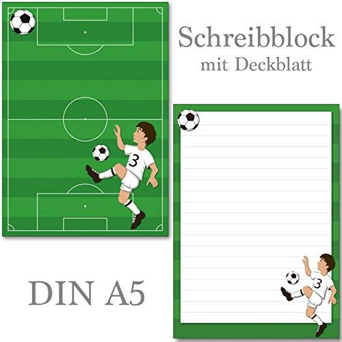 2 Stück Schreibblöcke Fußball 50 Blatt Format DIN A5 mit Deckblatt 7150