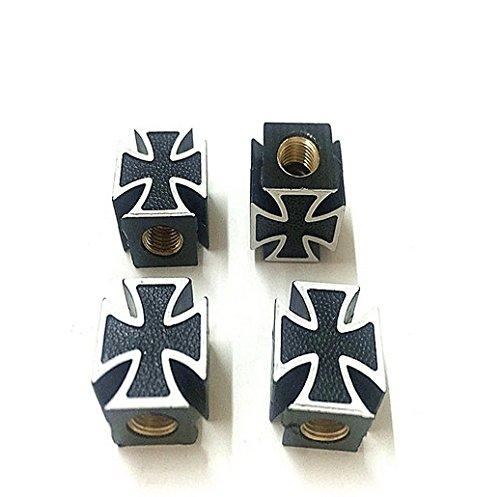 Shop-of-Wonder 4 tapones de válvula de cruz de hierro en negro para válvula de coche.