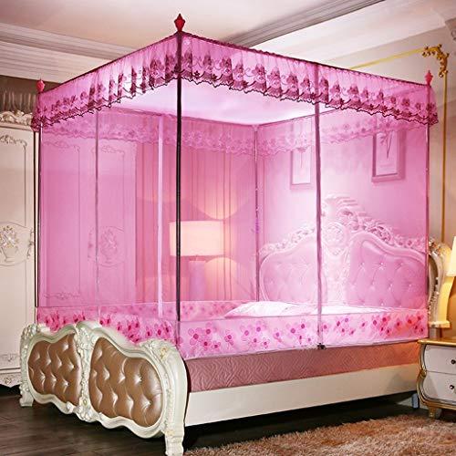 WENZH Home Textiel 3-deurs Rits Vierkant Top Muggennet 1,2 m/1,5 M Bed Volledige Net Muggennet 1.8 M Bed Muggennet Roestvrij Staal Beugel
