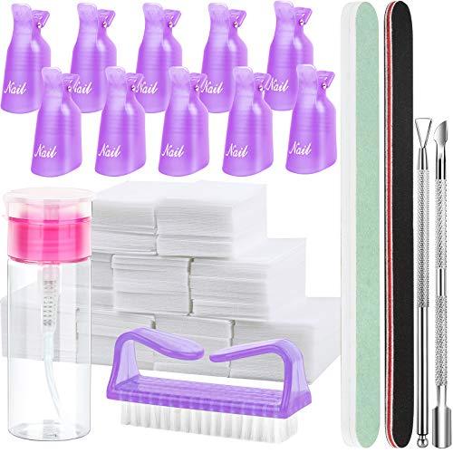 FANDAMEI Nail Polish Gel Remover Tools Kit, 10 Pcs Purple Nail Clips, 100ml Nail Polish Remover Bottle, 500 Pcs Remover Cotton Pad, Nail Brush, Cuticle Pusher, Cuticle Peeler, Nail File, Buffer Block