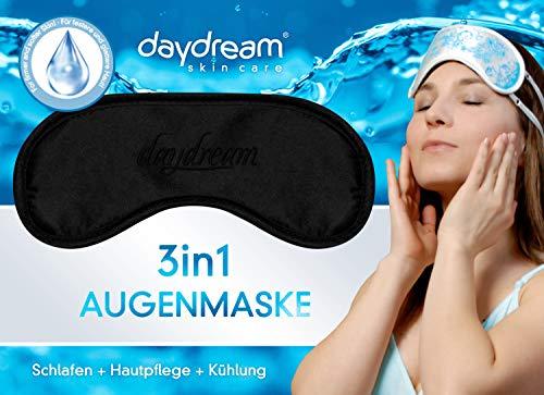 daydream patentierte Schlafmaske mit Retinol -Rückseite, schwarz (B-8000) für Frauen & Männer | Schlafmasken | Schlafbrille | Augenmaske | Augenklappe | gratis Kühlkissen (= Kühlmaske) | Topseller