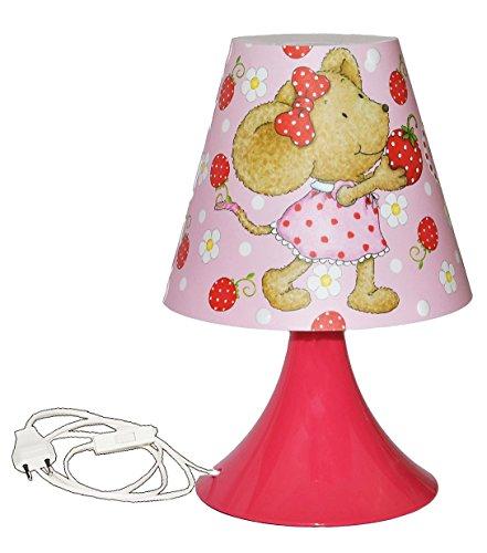 Preisvergleich Produktbild Unbekannt Tischlampe Lillebi Maus mit Erdbeere 29 cm hoch - Tischleuchte für Kinder Kinderzimmer - Mädchen Blumen rosa pink - Nachttischlampe Lampe Stehlampe - Steinbec..