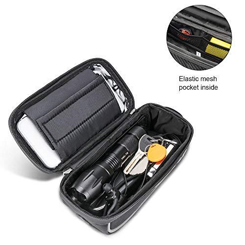 Jooheli Fahrrad Rahmentasche, Wasserdicht Rahmentasche Fahrrad Rahmentasche mit TPU-Touchscreen, wasserdicht handyhalterung für Smartphone unter 6 Zoll und Kopfhörerloch - 5