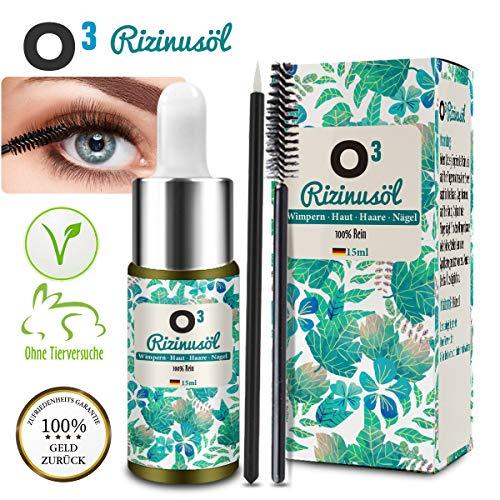 O³ Rizinusöl Wimpern und Augenbrauen // 100% reines Risinus Öl kaltgepresst // Castor oil für Haarwachstum, Gesicht, Bart, Haare, trockene Kopfhaut // Wimpernserum