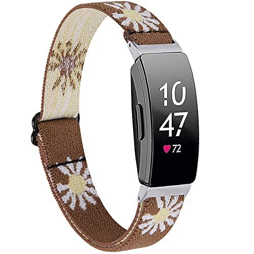 Miimall Correa elástica compatible con Fitbit Inspire/Inspire 2/Inspire HR, correa de repuesto de lona de nailon suave para reloj Fitbit Inspire/Inspire 2/Inspire HR (marrón margarita)