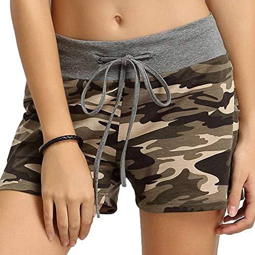 NSDKFF Shorts voor vrouwen Camo Slim Korte broek Vrouwen Camouflage Vrouwen Shorts Patchwork Trekkoord Elastische Taille Fitness Home Kleding