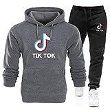 TIK Tok Mens Girl Hoodies Pants Set Pop Sweatshirt Bottom Set Unisex Kid Clothes TrousersFleece Drawstring Sportswear/G/XL
