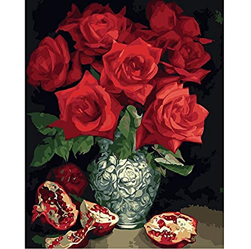 TDDEV Pintura por números Rosa Granada Naturaleza Muerta sobre Lienzo Aceite de Bricolaje Decoración de Europa Pintura de Lienzo para Sala de Estar 16x20 Pulgadas 40x50 cm