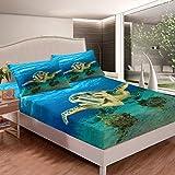 Juego de sábanas con estampado de reptiles 3D, para niños, niñas, adolescentes, azul océano, marino, para cama de animales subacuáticos, tamaño individual