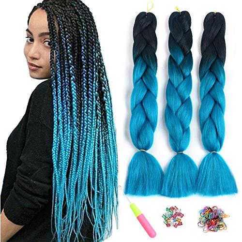 Ombre Jumbo Zöpfe Haar Flechten Haar Kanekalon, ShowJarlly Synthetische Haarverlängerungen 24 Zoll (60 cm) 300g / 3Pcs, 2 Ton (B22#Schwarz/Marineblau)