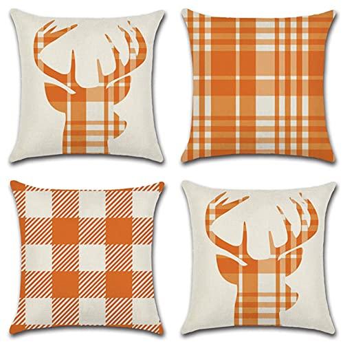 KaiXINSun Throw Pillow Cases Pack of 4 18X18 Inch Pillowcase Decorative Square House Sofa Cover Invisible Zipper 45X45Cm Orange Checkered Deer Head
