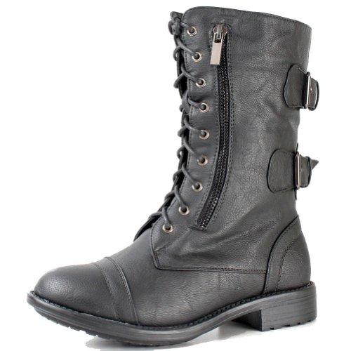 TOP Moda Pack-72 Black Military Lace up Mid Calf Combat Boot (9 B(M) US, Black)