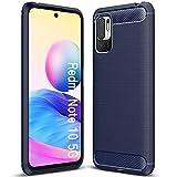 ALAMO Ultra Silicone Hülle für Xiaomi Redmi Note 10 5G / Poco M3 Pro, Kohle Faser StoßFest Bumper Handyhülle - Blau
