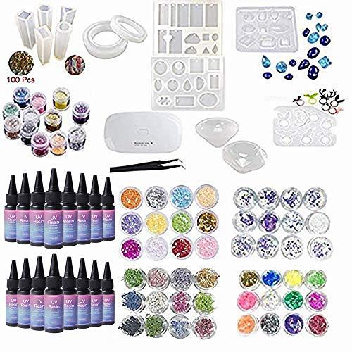16x Resina Epoxi UV Fórmula Nueva, Kit con Moldes + Ojales + 60 Flores secas Brillo Celofán + Lámpara + Pinzas para Manualidades Joyas Joyería Colgantes Pendientes Collares de Resina Transparente