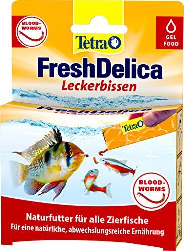 Tetra FreshDelica Bloodworms Leckerbissen als Gelfutter für alle Zierfische, 16 x 3g