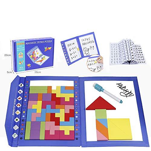 HVDHYY Holzpuzzles Tetris 47Stück Tangrams Puzzle Magnetisches Holz Montessori Spielzeug Entwickeln Gehirn Intelligenz Geburtstags Geschenke mit a schwarz Einen Aquarellstift für Kinder 3 in 1