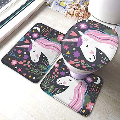 Juego de alfombras de baño de 3 piezas de dibujos animados con flores impresas suaves absorbentes antideslizantes almohadillas de baño Mat Contour tapa de inodoro