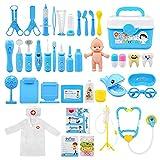 Ballery 43 Pezzi Valigetta Dottore Bambini , Kit Medico Giocattolo Gioco di Ruolo,Giocattoli Dottore per Toddlers (Blu)