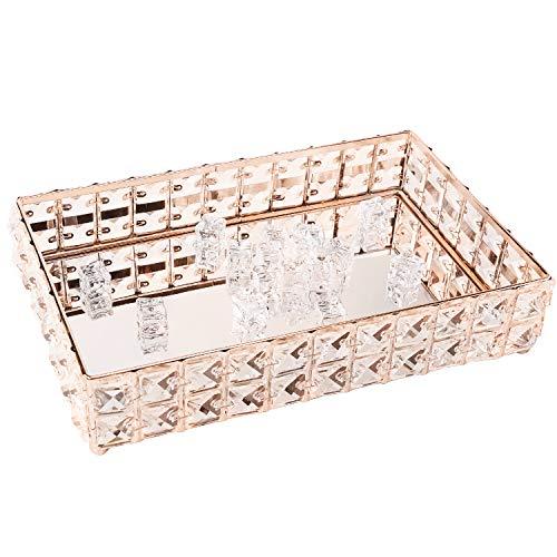 PowerKing Bandeja de Maquillaje, Bandeja de Organizador cosmético de Cristal para la Boda Decoración de tocador para el hogar - Bandeja de joyería de Pastel de Frutas Dulces (Oro)