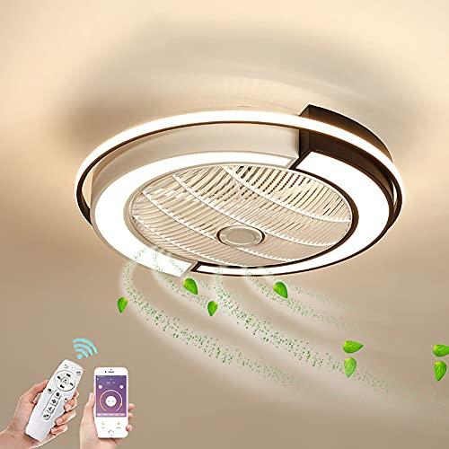 Ventilador de Techo con Luz LED Invisible Ventilador de Iluminación con Mando a Distancia Regulable Lámpara de Techo Ultra Silencioso 3 Velocidades De Viento Ventilador para Salón Plafon de techo