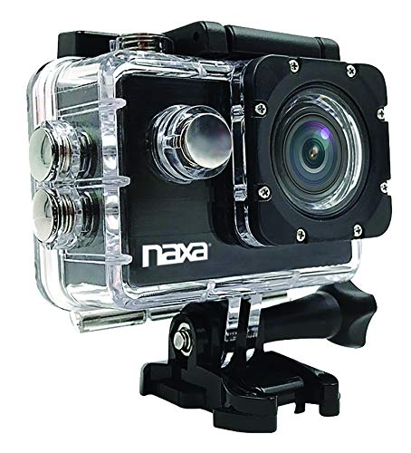 Naxa Electronics NDC-408 Waterproof 4K Action Camera, Shiny Black