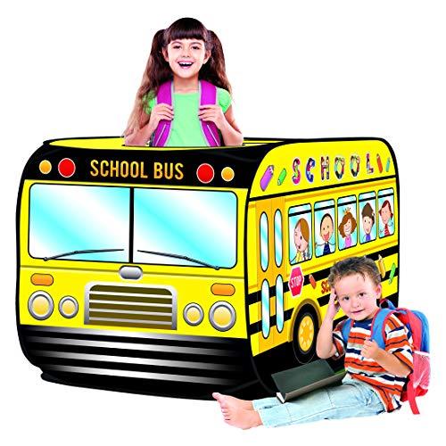 deAO Casita de Juegos Infantil Carpa para Niños y Niñas Tienda con Diseño Pop Up Auto Armable Montaje Rápido Actividades Recreativas al Interior y Exterior Área de Recreo (Autobús Escolar)