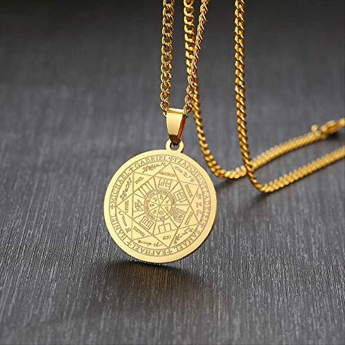 LKITYGF Elegante Collar para Hombre Color de Oro de Acero Inoxidable Los Sellos de los Siete arcángeles Sigil Colgante Haniel Michael Gabriel Signo