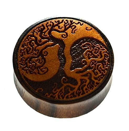 CHICNET Dilatador Yggdrasil Árbol de la vida Yin Yang, madera de sono, madera de sacos, túnel doble, dilatador, dilatador de oreja, unisex, vikingo, vikingo, celta, Madera,