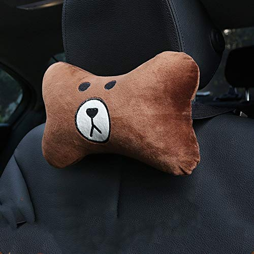 Reposacabezas WJ nueva Brown Pares del oso de peluche de dibujos animados huesos blandos reposacabezas [A] Decoración Almohada (Color : Brown bear)