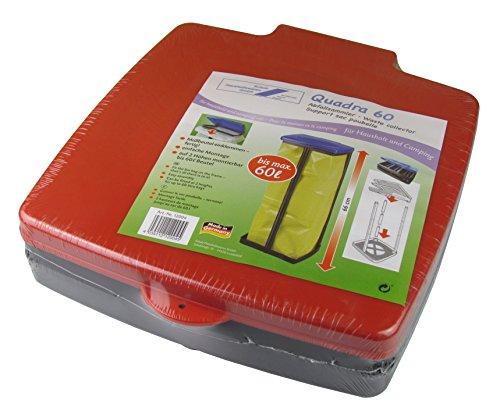 SCHULZ Support pour sac poubelle avec couvercle - Pour sacs poubelle jusqu'à 60 litres - Réglable en hauteur sur 3 positions - Support pour sac poubelle - Poubelle - Collecteur de déchets pour la maison ou le camping (rouge)