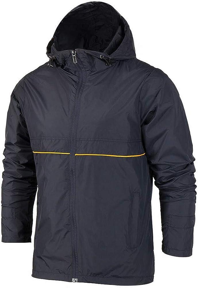 MODOQO Men's Zipper Jacket Coat Waterproof Casual Lightweight Hoodies Sweatshirt Outwear
