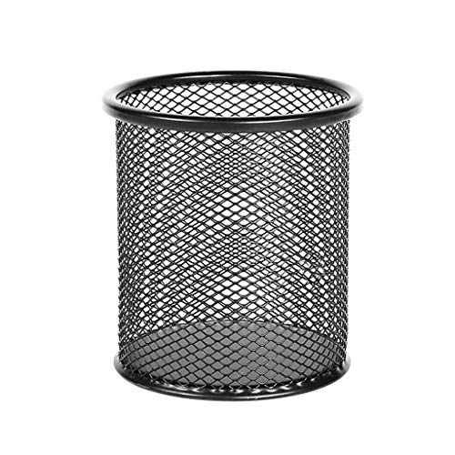 Portalápices QWEA de metal, para escritorio, oficina, portalápices, negro / blanco, 1/2 pieza (color: negro redondo + cuadrado negro)