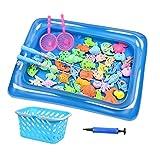 Pomrone Juguete de pesca magnético, animales marinos, juguete de baño, juguete para bañera, juguete de agua, para niños pequeños, juguetes para niños, juegos al aire libre, juego educativo para niños