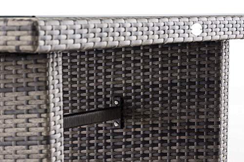 CLP Polyrattan-Gartentisch FISOLO mit Einer Tischplatte aus Glas I Wetterbeständiger Tisch aus Polyrattan Grau Meliert - 6