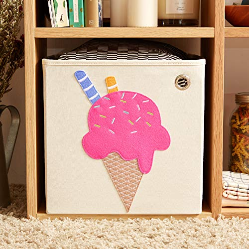 kaikai & ash Canvas Storage Bin, Nursery Bedroom, Toy Box Cube Organizer for Kids Newborns and Infants, Baby Shower Gift Basket, 13 inch Square, Collapsible, Ice Cream