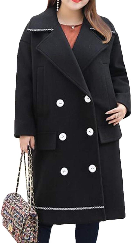 KLJR Women Lapel Pure color Plus Size DoubleBreasted Pea Coat