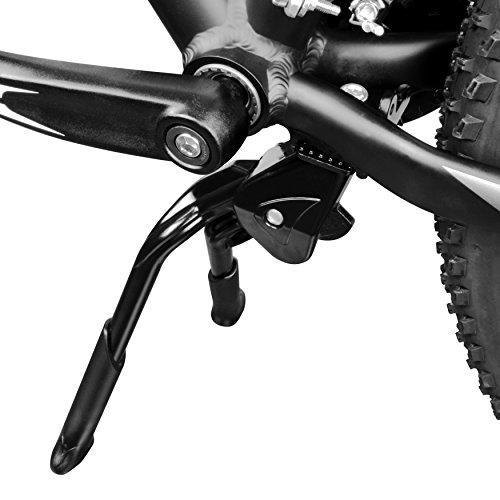 """BV Bike Kickstand, Center Mount Bicycle Stand - Length Adjustable, Foldable Double Leg for 24""""-28"""" Bikes"""