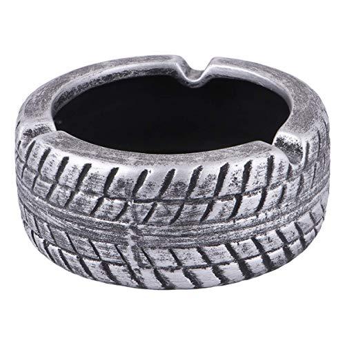 Neumáticos de cerámica Novedad Neumático Neumático Weed Ceniza Can Office Bar Cafe Decoración Inicio Negro YXF99 (Color : Silver)