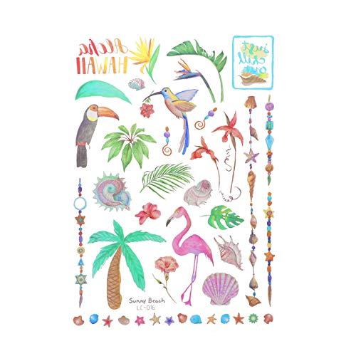 Amosfun Beach Hawaiian Luau Tatuajes temporales para niños y adultos Tatuajes tropicales Suministros de decoración para fiestas Fiesta de cumpleaños para niños Favores Sunny Beach5 Hojas / paquete